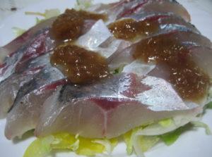 アジの梅酢サラダ