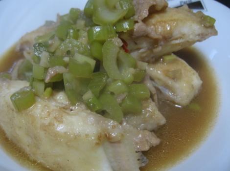 カワハギの野沢菜煮