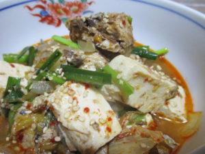 サバ缶の豆腐キムチチゲ