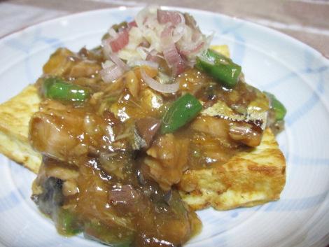 さば味噌缶の簡単レシピ・豆腐ステーキのサバ味噌ソース