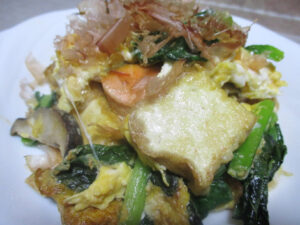鮭と小松菜のチャンプルー